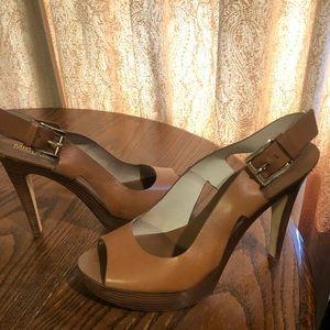 Michael Kors Leather Peeptoe Slingback Heels